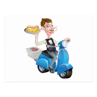Cartoon Waiter on Scooter Moped Delivering Hotdog Postcard