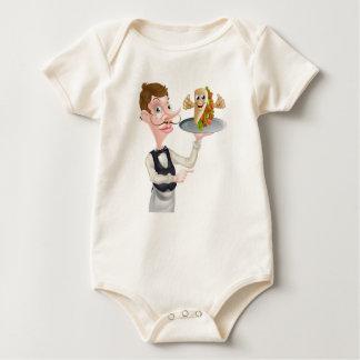 Cartoon Waiter Pointing and Kebab Baby Bodysuit