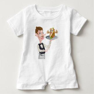 Cartoon Waiter Pointing and Kebab Baby Romper