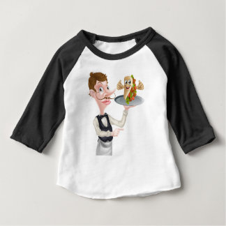 Cartoon Waiter Pointing and Kebab Baby T-Shirt
