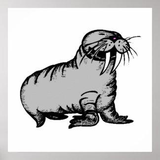 Cartoon Walrus Poster