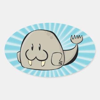 Cartoon Walrus Oval Sticker