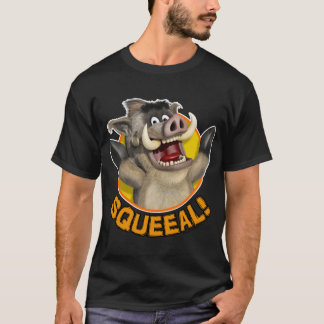 Cartoon Warthog Animal on Dark Material T-Shirt