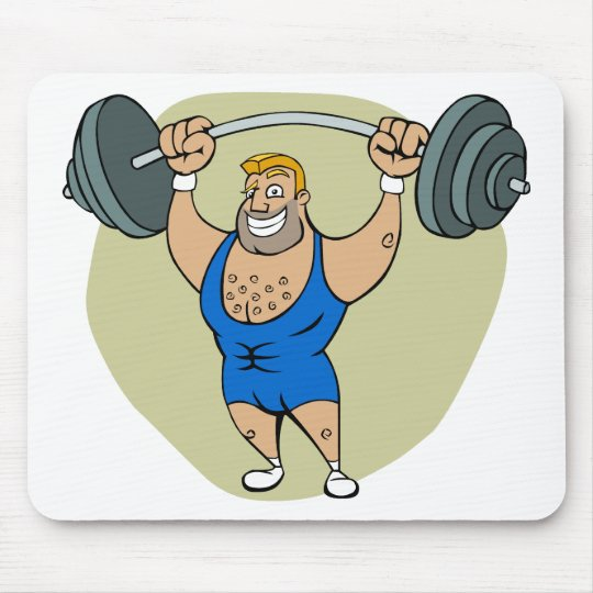Cartoon Weightlifter Mouse Pad