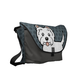 Cartoon West Highland White Terrier Courier Bags