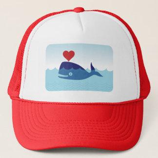 Cartoon Whale Heart Love Trucker Cap Hat