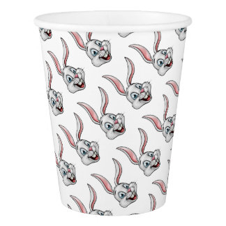 Cartoon White Bunny Rabbit Face Paper Cup