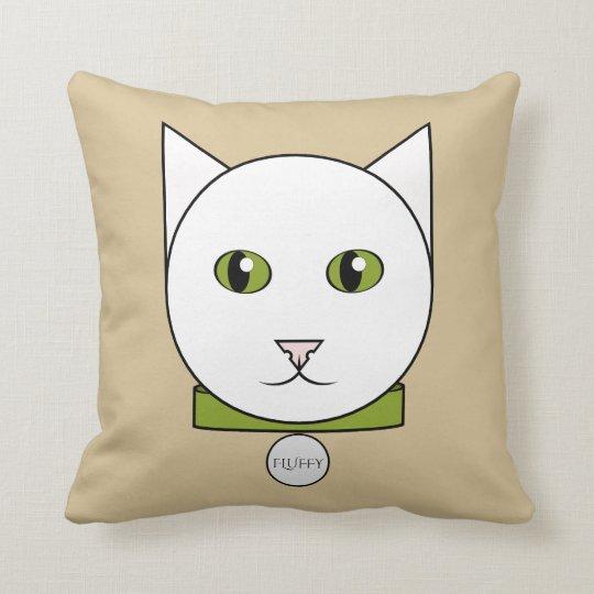 Cartoon White Cat Face Throw Pillow