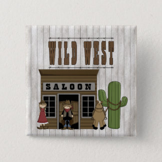 Cartoon Wild Western Fun Saloon 2 Inch Square Button