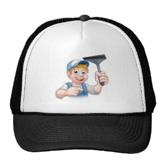 Cartoon Window Cleaner Squeegee Character Trucker Hat
