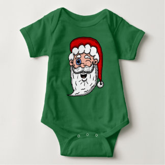 Cartoon Winking Santa Head Baby Bodysuit