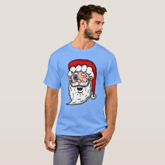 Cartoon Winking Santa Head T-Shirt