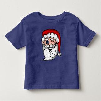 Cartoon Winking Santa Head Toddler T-shirt