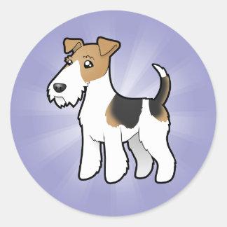 Cartoon Wire Fox Terrier Classic Round Sticker