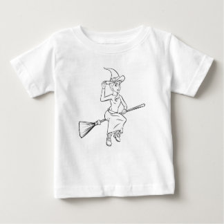 Cartoon Witch Flying on her Broomstick Baby T-Shirt