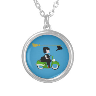 Cartoon Witch Riding A Green Moped Silver Plated Necklace