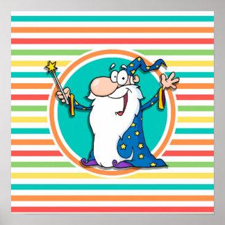 Cartoon Wizard on Bright Rainbow Stripes Print