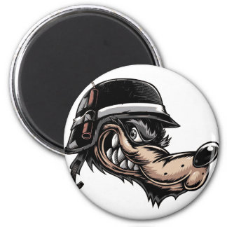 Cartoon Wolf 2 Inch Round Magnet