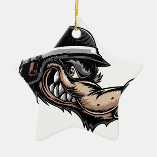 Cartoon Wolf Ceramic Star Ornament