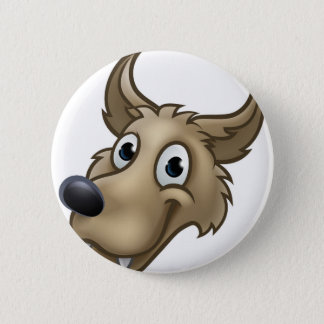 Cartoon Wolf Character Mascot 2 Inch Round Button