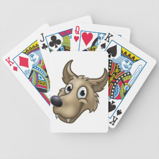 Cartoon Wolf Character Mascot Bicycle Playing Cards