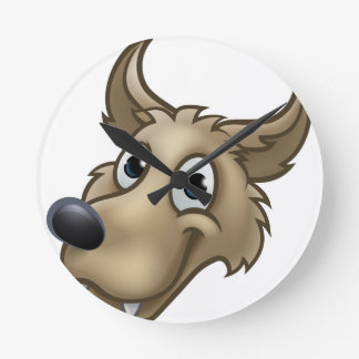 Cartoon Wolf Character Mascot Round Clock