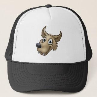 Cartoon Wolf Character Mascot Trucker Hat