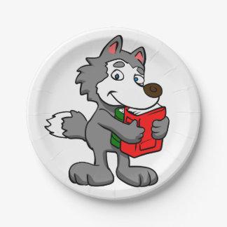 Cartoon wolf holding books paper plate
