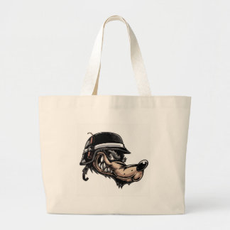 Cartoon Wolf Large Tote Bag