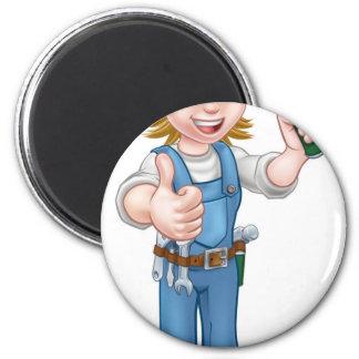 Cartoon Woman Carpenter Holding Hammer 2 Inch Round Magnet