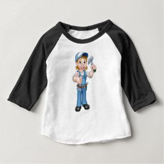 Cartoon Woman Carpenter Holding Hammer Baby T-Shirt