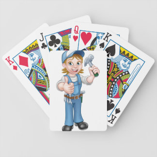 Cartoon Woman Carpenter Holding Hammer Bicycle Playing Cards