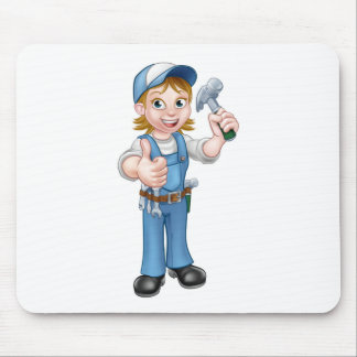 Cartoon Woman Carpenter Holding Hammer Mouse Pad