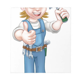 Cartoon Woman Carpenter Holding Hammer Notepad