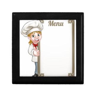 Cartoon Woman Chef Menu Gift Box