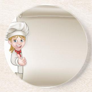 Cartoon Woman Chef Menu Scroll Coaster