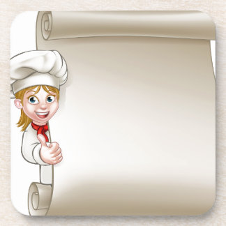 Cartoon Woman Chef Menu Scroll Coaster