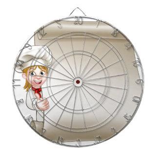 Cartoon Woman Chef Menu Scroll Dartboard