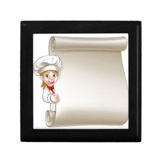 Cartoon Woman Chef Menu Scroll Gift Box