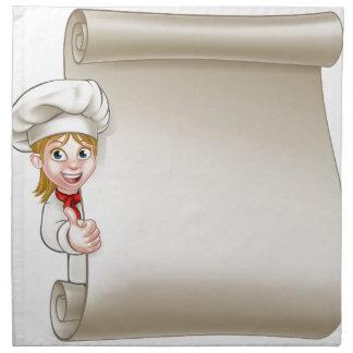 Cartoon Woman Chef Menu Scroll Napkin