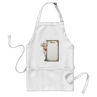 Cartoon Woman Chef Menu Standard Apron