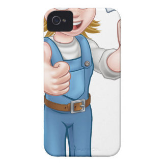 Cartoon Woman Gardener Mascot Case-Mate iPhone 4 Cases