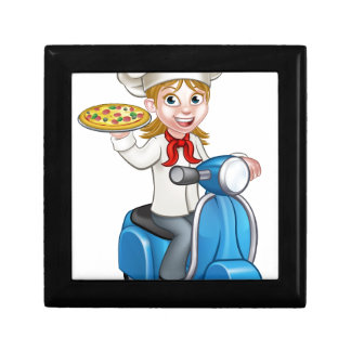 Cartoon Woman Pizza Chef on Delivering PIzza Gift Box