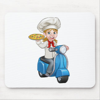 Cartoon Woman Pizza Chef on Delivering PIzza Mouse Pad