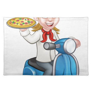 Cartoon Woman Pizza Chef on Delivering PIzza Placemat