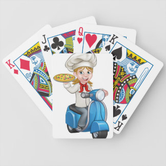 Cartoon Woman Pizza Chef on Delivering PIzza Poker Deck