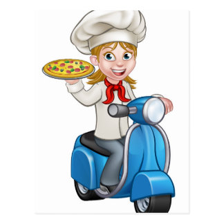 Cartoon Woman Pizza Chef on Delivering PIzza Postcard