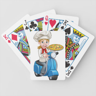 Cartoon Woman Pizza Chef on Moped Scooter Bicycle Playing Cards