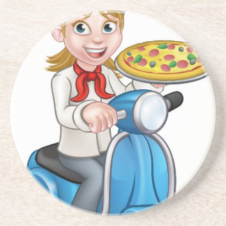Cartoon Woman Pizza Chef on Moped Scooter Coaster