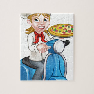 Cartoon Woman Pizza Chef on Moped Scooter Jigsaw Puzzle